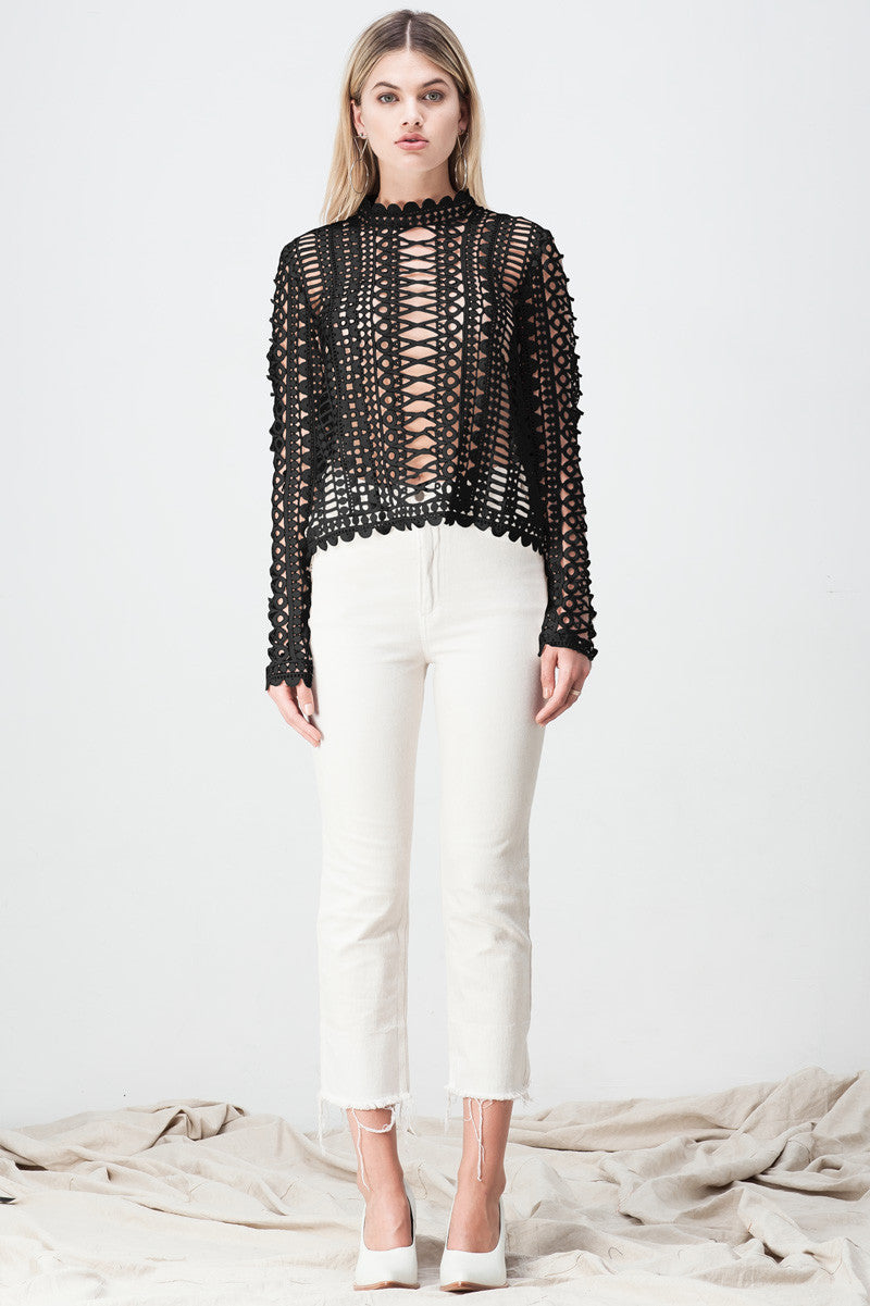 shakuhachi - LACE BORDERS LONG SLEEVE TOP BLACK - 3