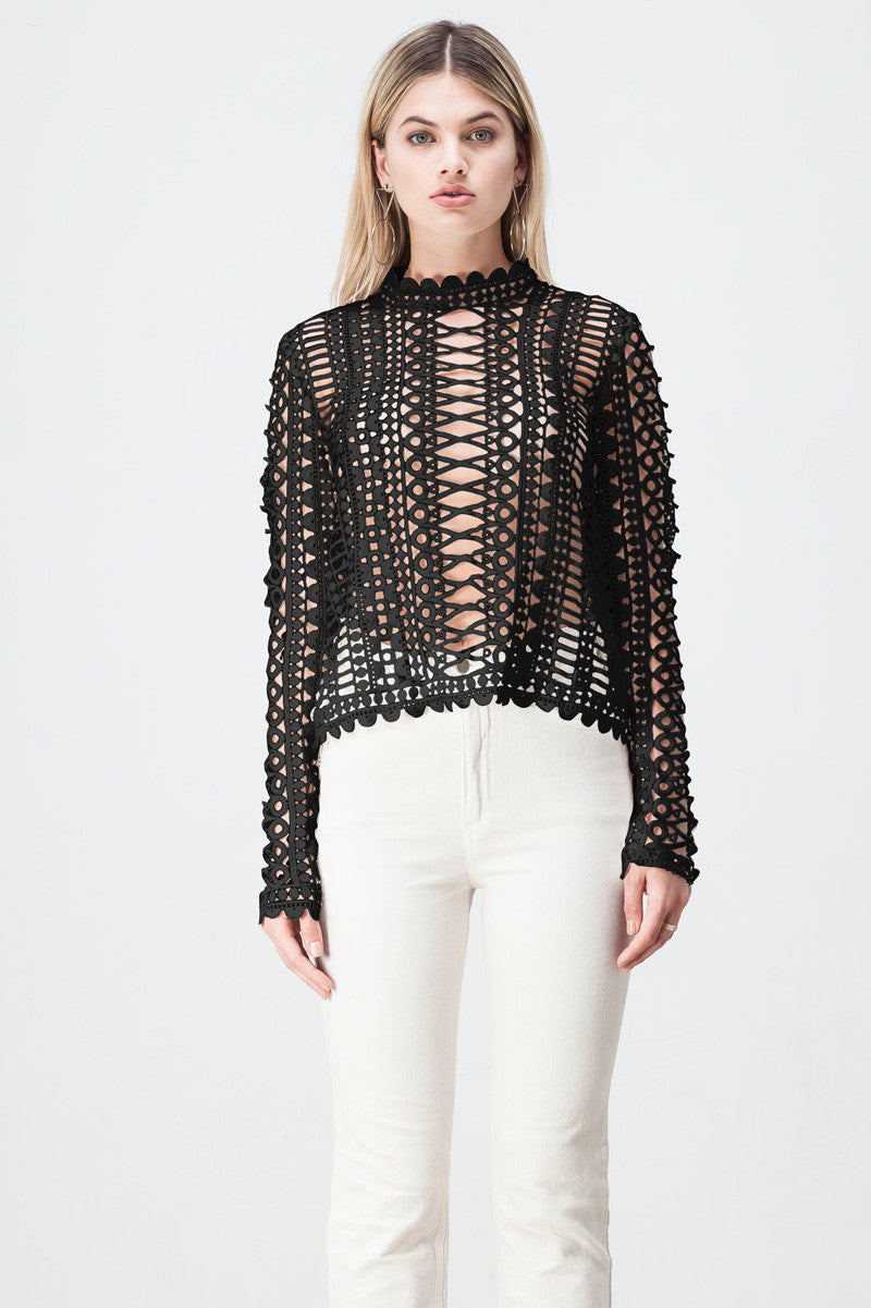 shakuhachi - LACE BORDERS LONG SLEEVE TOP BLACK - 2