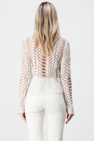 LACE BORDERS LONG SLEEVE TOP WHITE