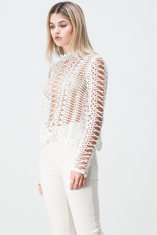 shakuhachi - LACE BORDERS LONG SLEEVE TOP WHITE - 6