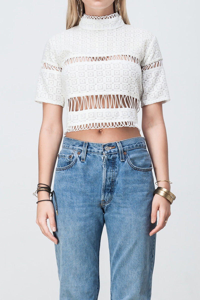 shakuhachi - LACE PANELLED CROP WHITE - 4