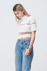 shakuhachi - LACE PANELLED CROP WHITE - 5