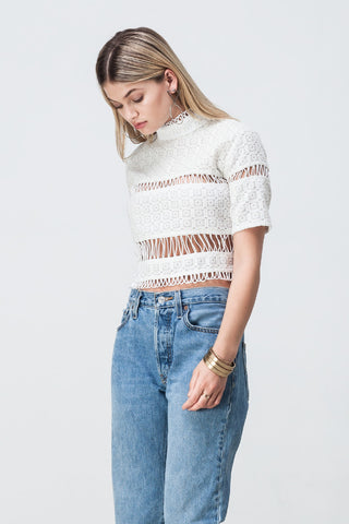 LACE PANELLED CROP WHITE - Shakuhachi - 5