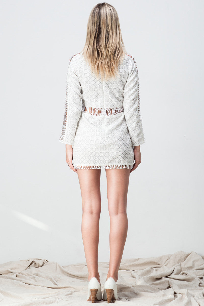shakuhachi - CUT OUT LACE PANELLED MINI WHITE - 4