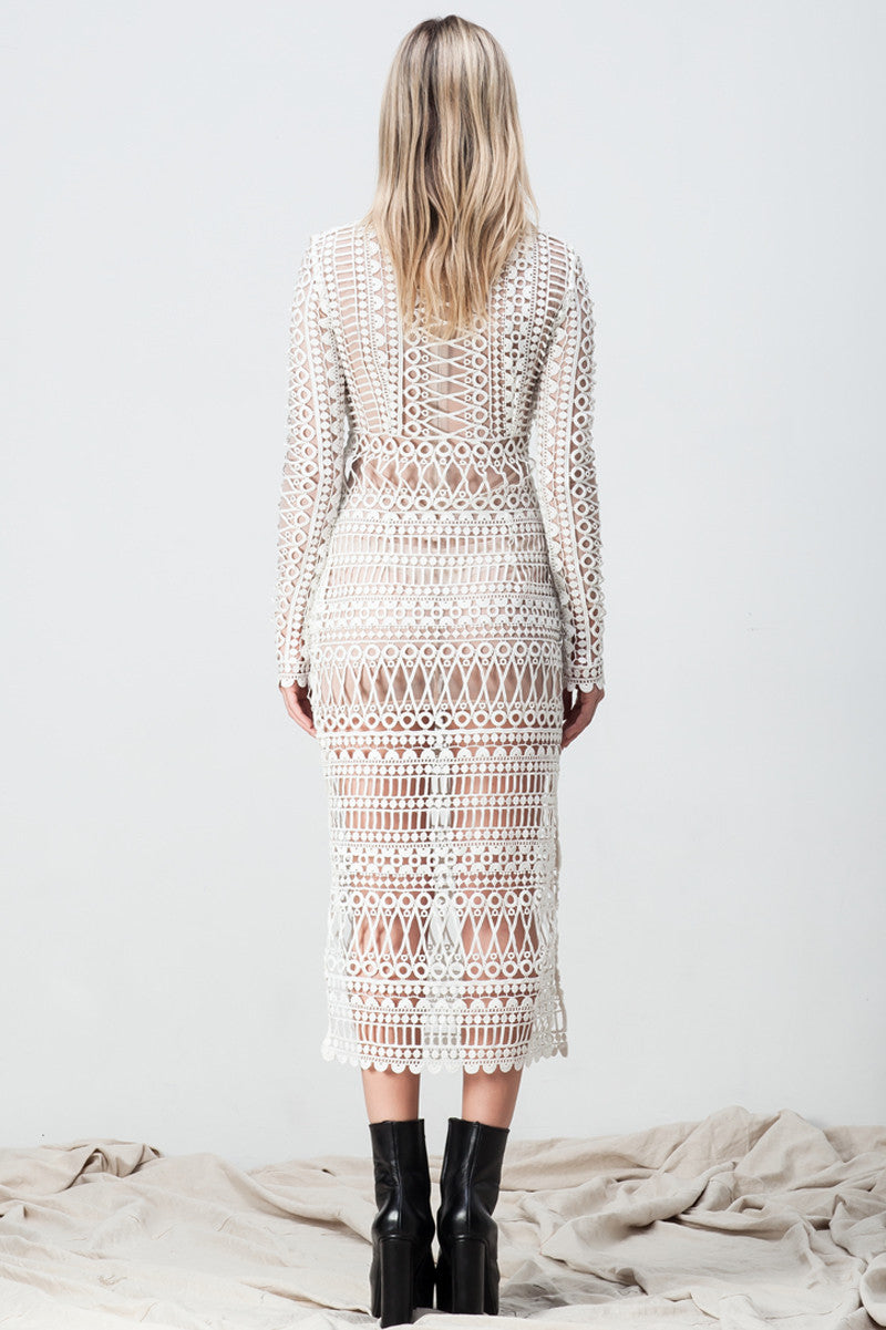 shakuhachi - LACE BORDERS MIDI DRESS WHITE (TULLE UNDERLAY) - 5
