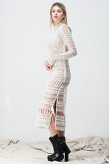 shakuhachi - LACE BORDERS MIDI DRESS WHITE (TULLE UNDERLAY) - 2