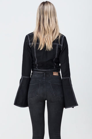 CONTRAST STITCH FLARE SLEEVE SHIRT BLACK