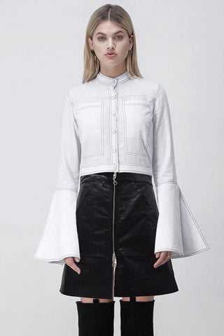 CONTRAST STITCH FLARE SLEEVE SHIRT WHITE