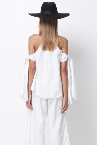 CONTRAST STITCHING TIE SLEEVE TOP - WHITE