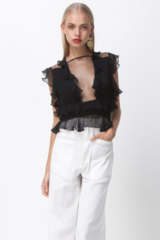 CROPS SHOULDER PLEAT TOP - BLACK