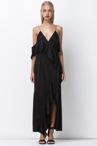 ASYMETRICAL RUFFLE DRESS - BLACK - Shakuhachi