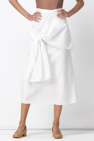 READY OR KNOT MIDI SKIRT - WHITE