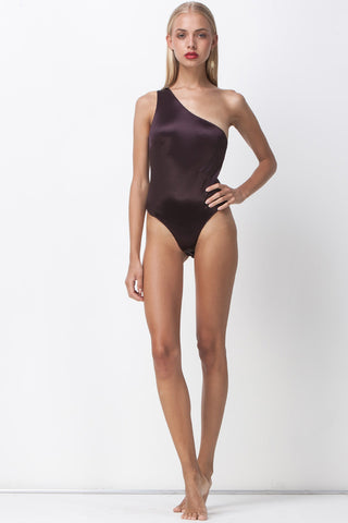 ALL THAT SHINES ASYMMETRIC BODYSUIT - PLUM