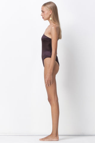 ALL THAT SHINES ASYMMETRIC BODYSUIT - PLUM - Shakuhachi