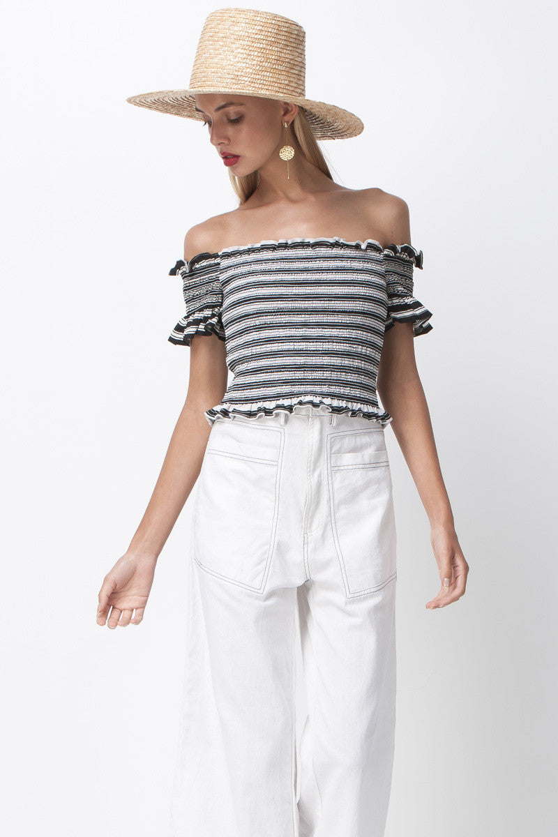 STRIPE SMOCKED CROP TOP - WHITE BLACK