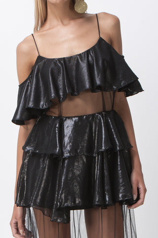 DISCO NIGHTS RUFFLE SHEER MAXI - BLACK