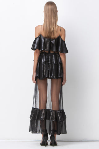 shakuhachi - DISCO NIGHTS RUFFLE SHEER MAXI - BLACK - 3