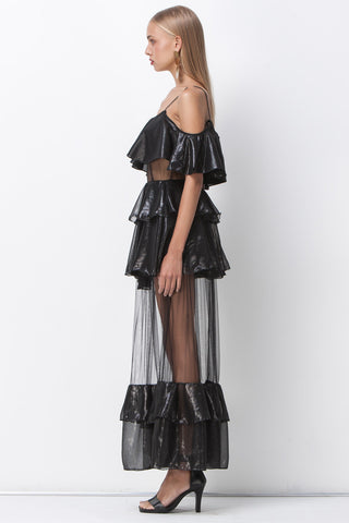 shakuhachi - DISCO NIGHTS RUFFLE SHEER MAXI - BLACK - 4