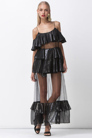 shakuhachi - DISCO NIGHTS RUFFLE SHEER MAXI - BLACK - 1
