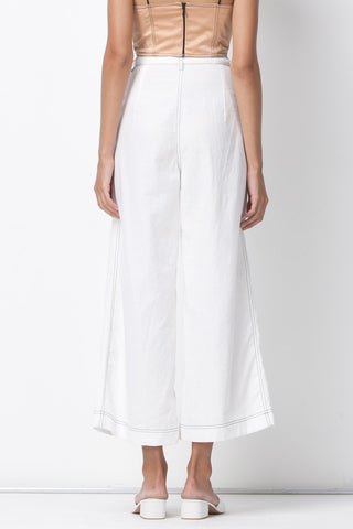 CONTRAST STITCHING WIDE LEG PANTS - WHITE