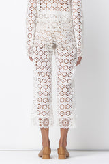 FLOWER POWER FLARE PANTS - CREAM