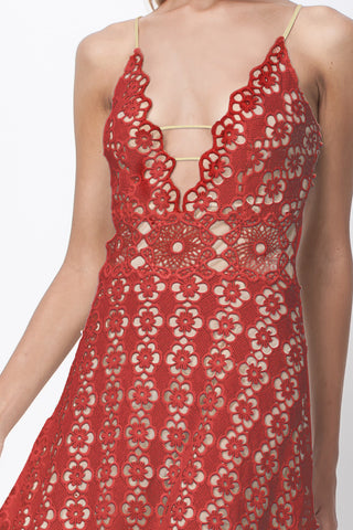 FLOWER POWER MIDI SUN DRESS - BRICK RED