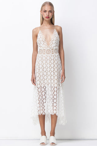 FLOWER POWER MIDI SUN DRESS - CREAM