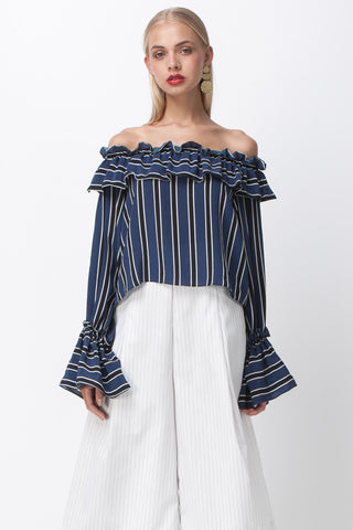 HONEY BE RUFFLE TOP - NAVY STRIPE