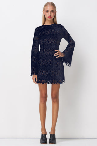 DIAMOND LACE SKATER DRESS NAVY