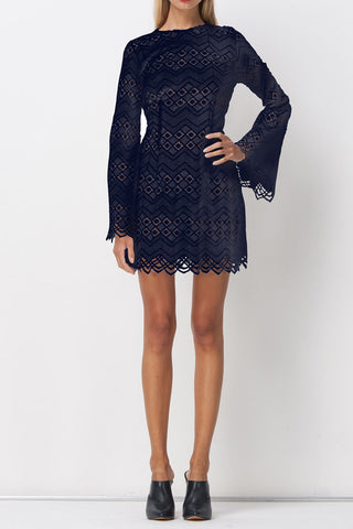 DIAMOND LACE SKATER DRESS NAVY - Shakuhachi - 2