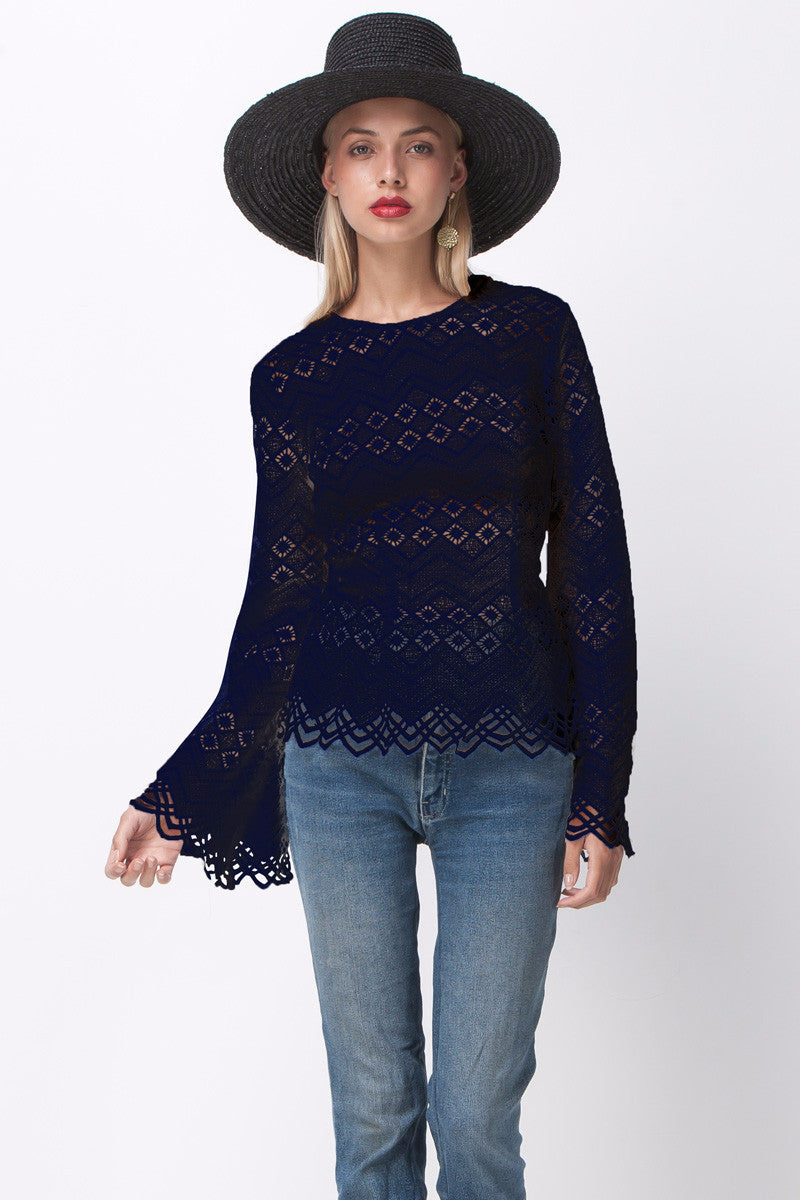 shakuhachi - DIAMOND LACE LONG SLEEVE TOP NAVY - 1