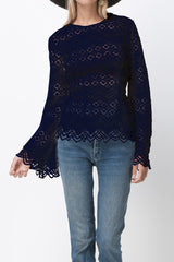 shakuhachi - DIAMOND LACE LONG SLEEVE TOP NAVY - 2