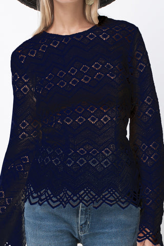 DIAMOND LACE LONG SLEEVE TOP NAVY
