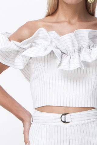 PIN STRIPE SWEETHEART RUFFLE TOP - WHITE