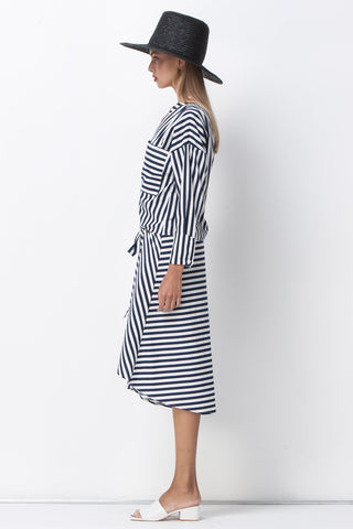 JAIL BIRD STRIPE WRAP SHIRT DRESS - WHITE NAVY