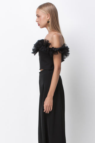 PLEAT ORGANZA SWEETHEART OFF SHOULDER TOP - BLACK