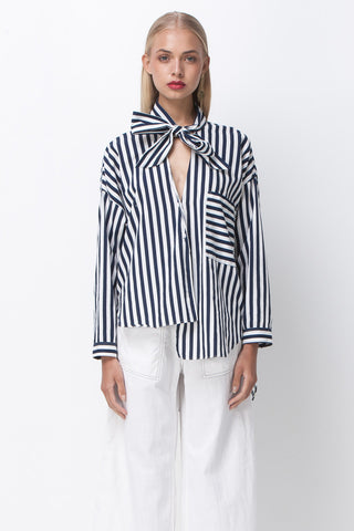 JAIL BIRD STRIPE SHIRT - WHITE NAVY - Shakuhachi