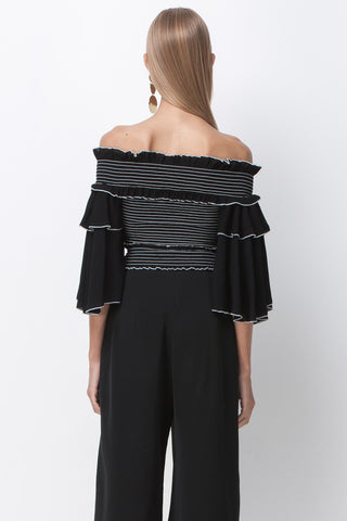 STRIPE SMOCKED RUFFLE CROP TOP - BLACK