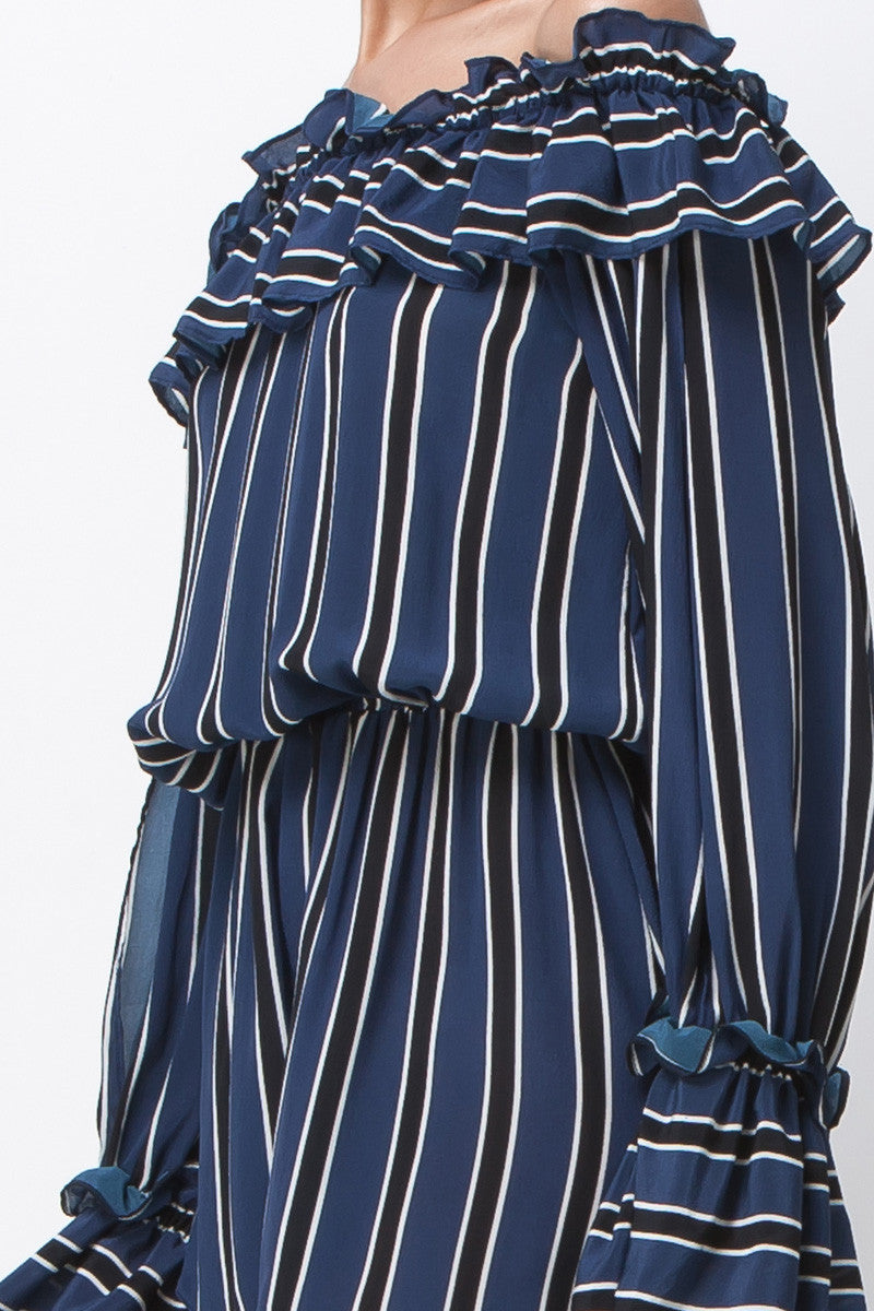 HONEY BE RUFFLE ROMPER - NAVY STRIPE