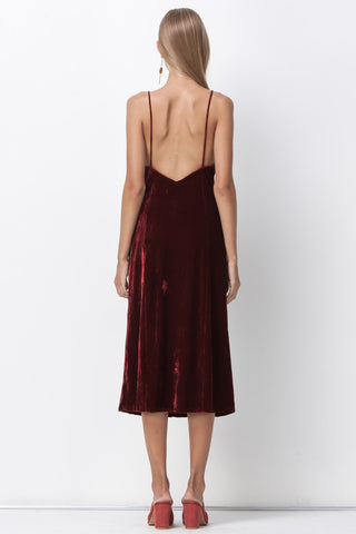 BIANCA VELVET MIDI DRESS - RED