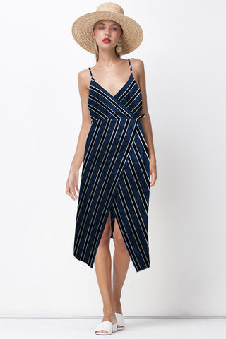HONEY BE RUFFLE WRAP DRESS - NAVY STRIPE
