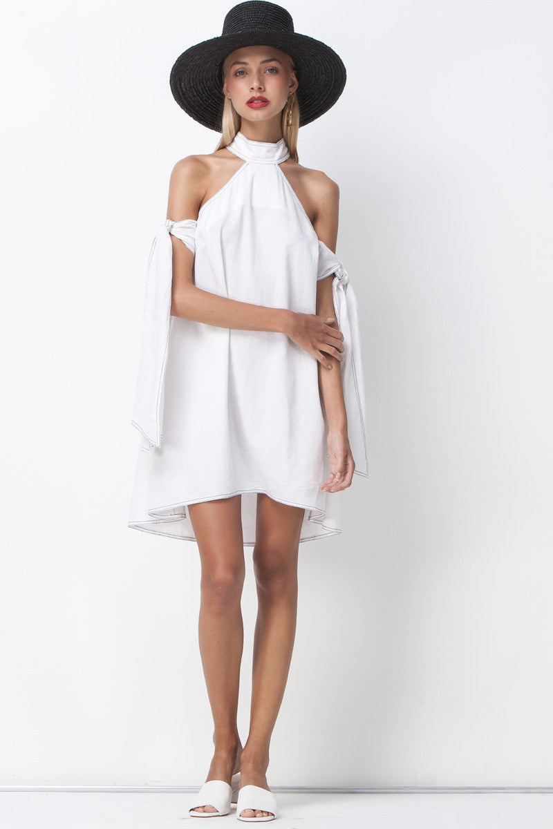 CONTRAST STITCHING TIE SLEEVE DRESS - WHITE - Shakuhachi
