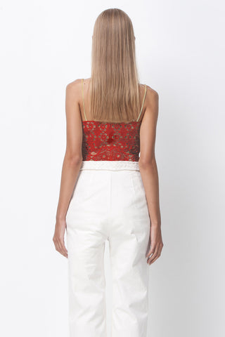 FLOWER POWER CAMI TOP - BRICK RED