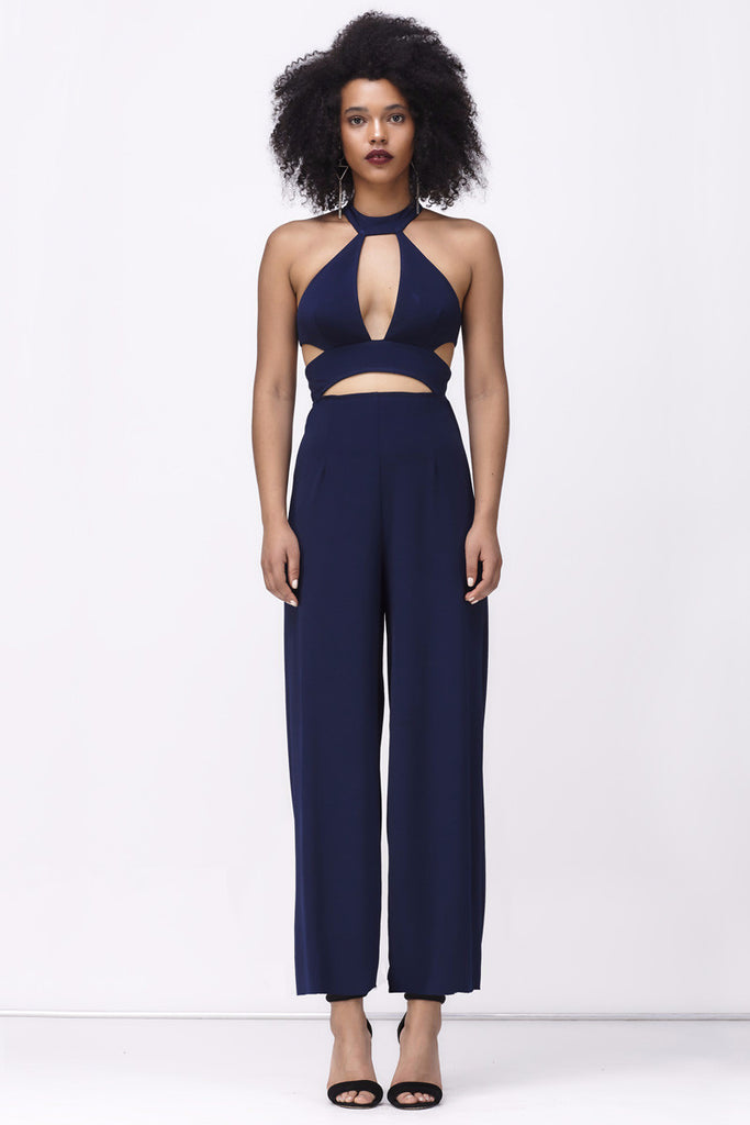 STOP, LOOK, LISTEN JUMPSUIT - NAVY