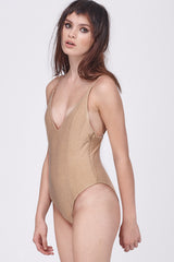 DISCO DEEP V BODYSUIT - BLUSH