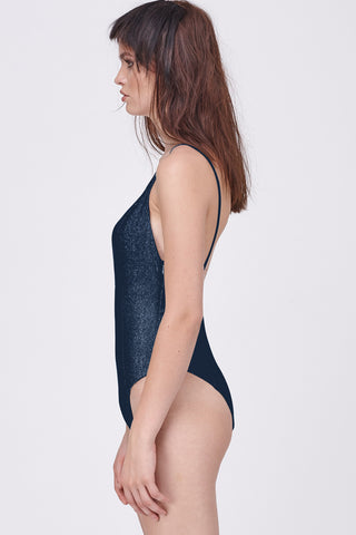 DISCO DEEP V BODYSUIT - NAVY