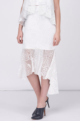 ORAGAMI MIDI SKIRT - WHITE