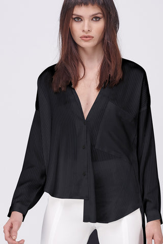 SHEER STRIPE ASYMETRICAL SHIRT - BLACK