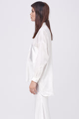 SHEER STRIPE ASYMETRICAL SHIRT - WHITE