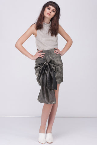 METALLIC BOW TIES SKIRT - SILVER